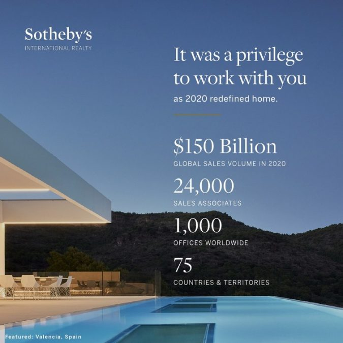 SOTHEBY'S INTERNATIONAL REALTY SEES 32% SALES GROWTH, ACHIEVES $150B IN GLOBAL SALES IN 2020
