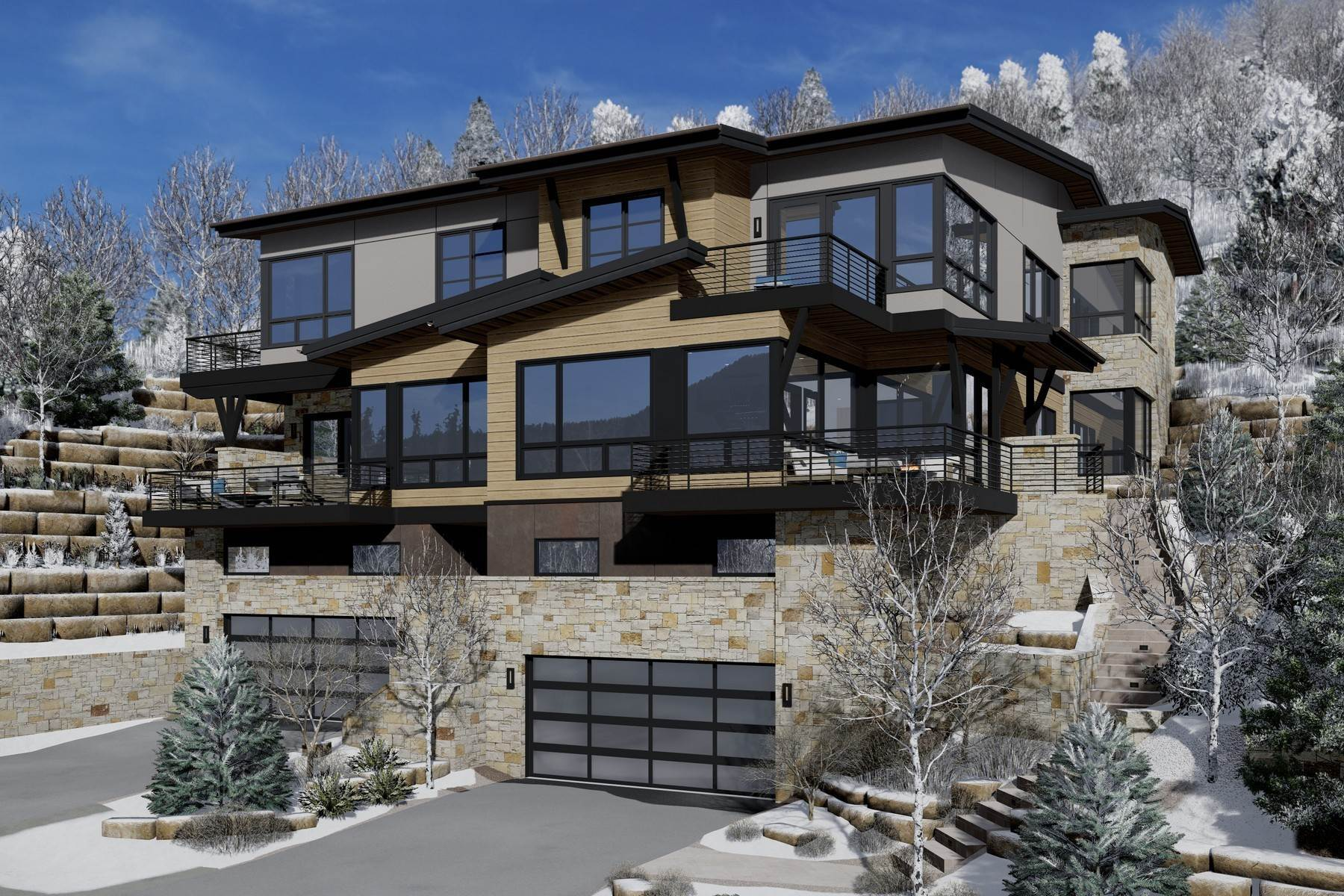 Duplex Homes pour l Vente à New construction mountain modern residence 2699 Davos Trail #East Vail, Colorado 81657 États-Unis