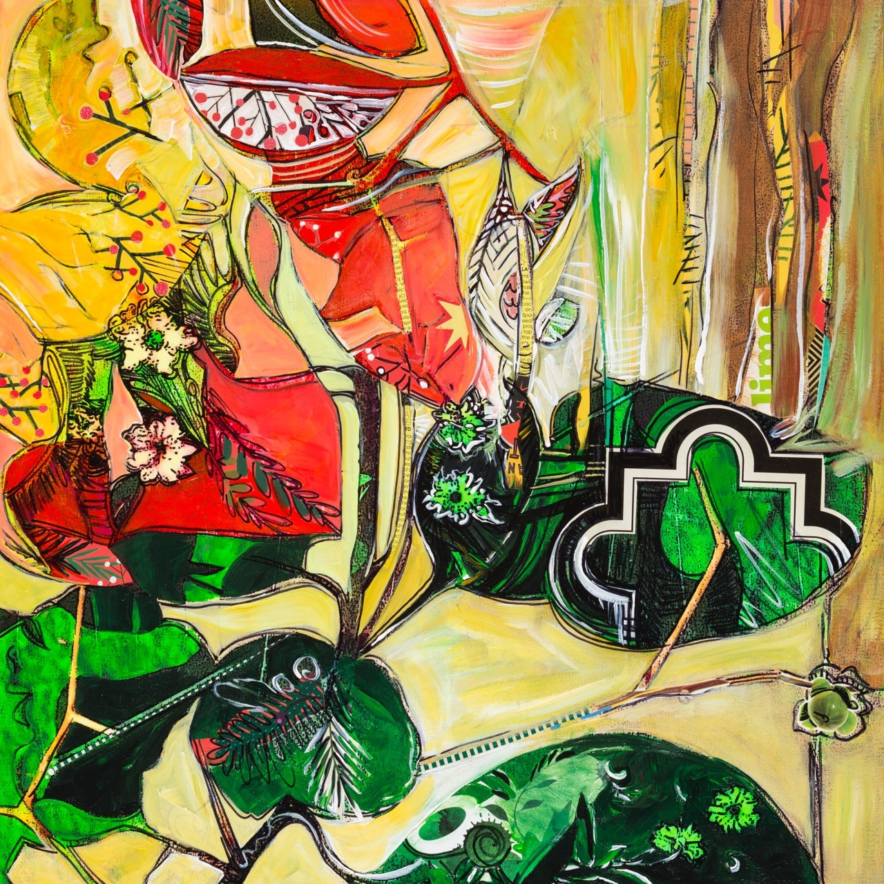 """Lime"" Original Acrylic Mixed Media & Collage on Canvas"